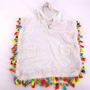 Mudpie White Rainbow Tassel Poncho Swim Cover 2-3T